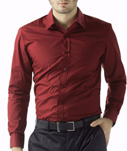 Oshano Men's Casual Formal Solids Long Sleeves Shirt Collar Slim Fit Red Cotton Shirt 1