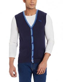 Puma Men's V-neck Cotton Sweatshirt (4053985471866_S_Peacoat)