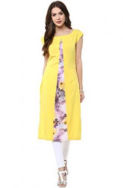 Janasya Women's A-Line Crepe Kurti (JNE1405-YELLOW-KR-UDF16_Yellow_Large)