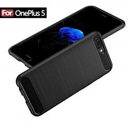 OnePlus 5 Case, Delhisalesmart [TM] [Scratch Resistant] Super Lightweight Ultra Slim Thin Carbon Fiber Scratch Resistant Shock Absorption Soft TPU Protective Cover For OnePlus 5 A5000 (Black)
