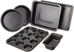 AmazonBasics Stainless Steel Baking Sheet 6-Pieces, Dark Grey