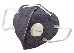Honeywell PM 2.5 Anti Pollution Foldable Face Mask with Easy Exhalation Valve, Dark Blue Printed, Box of 5