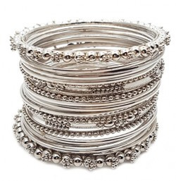 YouBella Antique Look Jewellery Silver Plated Traditional Bracelet Bangles set for women (2.4)