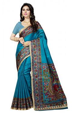Rani Saahiba Women's Kalamkari Printed Art Bhagalpuri Silk Saree ( Skr3063_Turquoise )