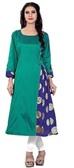 Divine International Women's Taffeta With Jacquard Silk Brocade A-Line Long Kurti (Green, Large)