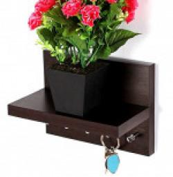 Regis Key Hold - Wall Mounted Key Holder/Key Rack Hooks with Décor Shelf - Skywood Wenge