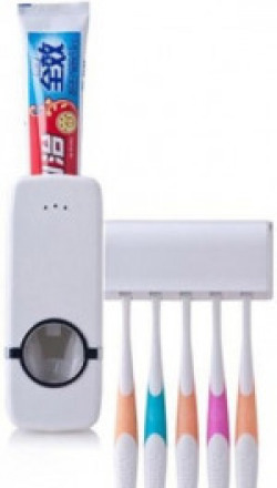 Obencho Automatic Toothpaste Dispenser And Tooth Brush Holder Set Plastic Toothbrush Holder(Wall Mount)