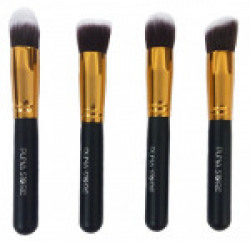 Puna Store® 4 Piece Foundation Makeup Brush Set (Black-Gold)