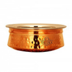 Taluka (7.8  x 2.8  Inches approx) Handmade Traditional Best Quality Pure Copper Handi / Pot Steel Inside Capacity :- 750 ML Restaurant Ware Hotel Ware Home Ware Gift Item Weight :- 710 Grams Big Copper Handi