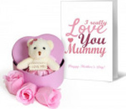 Tied Ribbons Mothers day special gifts Teddy Heart Box With Greeting Card Soft Toy Gift Set