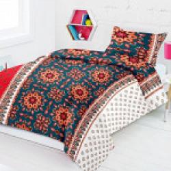 Home Elite 120 TC Cotton Single Bedsheet with Pillow Covers - Multicolour