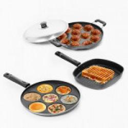 Sumeet Nonstick Essential Combo Set (Multi Snack Maker - 7 Pcs + Grill Pan - 22cm + Grill Appam Patra - 12 Pcs)
