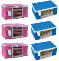 Homestrap Non Woven Saree Cover with window - Pink & Blue (Set of 6)