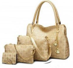 VEZELA Women's 4Pc Shoulder Bags, Crossbody Bag , Handbag & Pouch Combo Set (Golden)