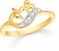 Divastri Tiny Mayur Alloy Cubic Zirconia 18K Yellow Gold Plated Ring
