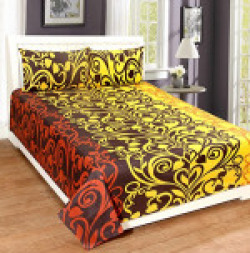 Home Elite Ethnic Print Polycotton Double Bedsheet With 2 Pillow Covers , Multicolor