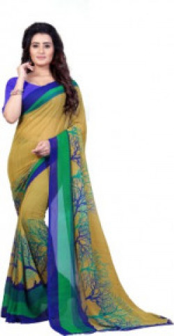 Anand Sarees Printed Fashion Faux Georgette Saree(Green)