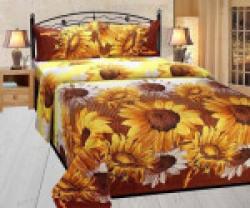 P.S DECOR 180 TC Polycotton Double 3D Printed Bedsheet(1 bedsheet 2 pillow covers, Black)