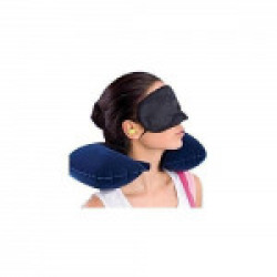 LOYAL EMPLE Multicolor Travel Pillow with Eye Mask and 2 Ear Plugs