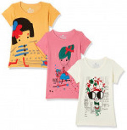 (Pack of 3) Fort Collins Girls' Floral Regular Fit T-Shirt  (929241 B_Off White2, Pink1 and Mustard1_26 (6 - 7 years))
