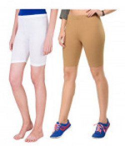 Beauty Plus Girls Stretchable White and skin Cycling Shorts (Pack of 2)size: 36-90