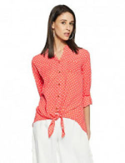 Flying Machine Women's Regular Fit Cotton Shirt (FWTO0152_Hot Coral_M)