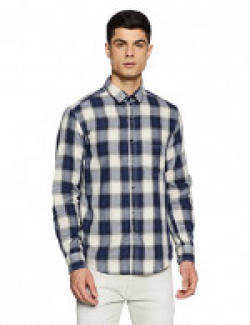 Diverse Men's Checkered Regular Fit Casual Shirt (DVC07C2L02-154A_Blue/White_Medium)