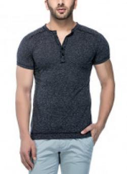 Tinted Men's Cotton Linen Henley Half Sleeve T-Shirt (TJ106LH_Black_Medium)