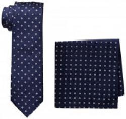 Lino Perros Men's Tie Set (Pack of 2) (8903421301621_LPTIE-HANKYS0055_Free Size_Blue)
