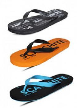 SCATCHITE Men's Pack Of 3 Flip Flops & House Slippers (8, BLACK)