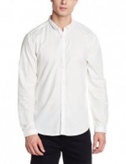 Van Heusen Men's Solid Slim Fit Cotton Casual Shirt (VDSF517E011563_White_42)