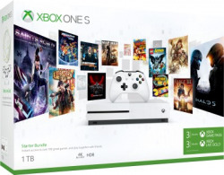 Microsoft Xbox One S 1 TB with Xbox Starter Bundle (3 Months Xbox Game Pass and Xbox Live Gold)(White)