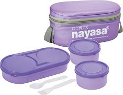 Nayasa Duplex Softline Plastic Lunch Box, 3-Pieces, Purple