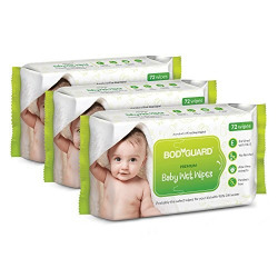BodyGuard Premium Paraben Free Baby Wet Wipes with Aloe Vera - 216 Wipes (Pack of 3)