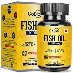 GoBio Omega-3 Fish Oil 1000mg Double Strength 330mg EPA 220mg DHA - 60 Softgels