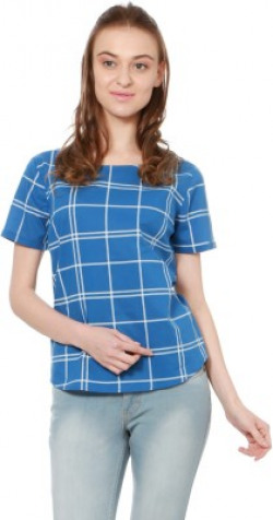 People Casual Short Sleeve Checkered Women Blue Top