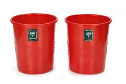 Sunshine Sweety 2 Piece Plastic Dustbin, 6 litres, Medium, Red
