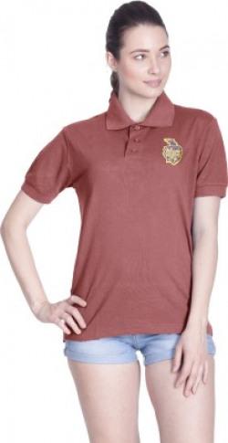 Kolkata Knight Riders Solid Women Polo Neck Maroon T-Shirt
