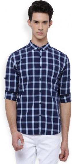 Highlander Men's Checkered Casual Dark Blue Shirt