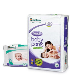 Himalaya Total Care Baby Pants (Small 54 Count) with Wipes (72 Count)