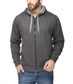 AWG Men's Light Weight Rich Cotton Casual Sweatshirt with Zip - Charcoal - AWG-M-LWSSLZ-CH-XXL