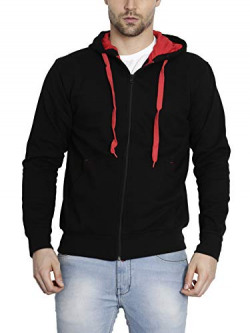 AWG Men's Light Weight Rich Cotton Casual Sweatshirt with Zip - Charcoal
