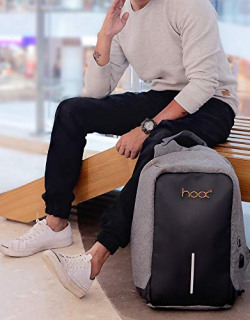 Hoox 16-inch Anti Theft Business Laptop Bag (Gray)