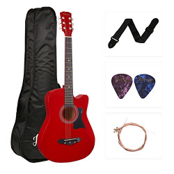 JUAREZ JRZ38C Right Handed Acoustic Guitar (Red, 6 Strings), with Case/Bag and Picks