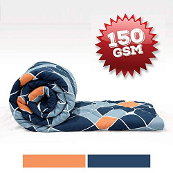 Divine Casa Imperial Geometric Polyester Single Comforter - Navy Blue and Orange