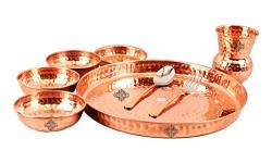 Indian Art Villa Hammered Traditional Design Copper Thali Multicuisine Dinnerware Set, 8 Pieces