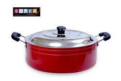 Super Classic 2.6mm Aluminium Non Stick Casserole Cookware, 20 cm, 2.6 Litre, Red Color