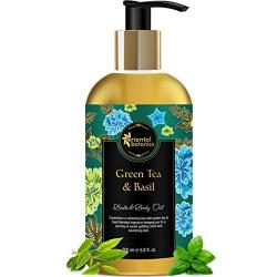 Oriental Botanics Bath & Body Oil (Green Tea & Basil) - 200ml - No Mineral Oil