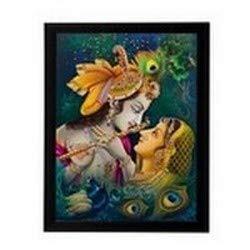 eCraftIndia Matte Textured Framed Synthetic Wood Radha Krishna UV Art Painting (27.9 cm x 1.3 cm x 35.6 cm, Multicolour)