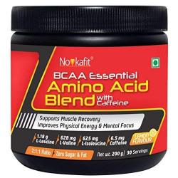 Novkafit® BCAA Essential Amino Acid Blend + Caffeine – 200 g Powder (Lemon Flavour)